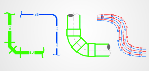 Examples of drain pipes, sewage pipelines drafted with AUTOSAN