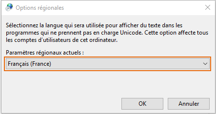 Options régionales Windows