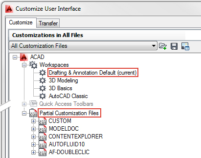 Set AutoCAD workspace for AUTOFLUID HVAC software