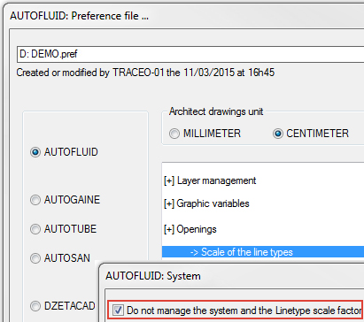 AUTOFLUID linetype scale factor in AutoCAD