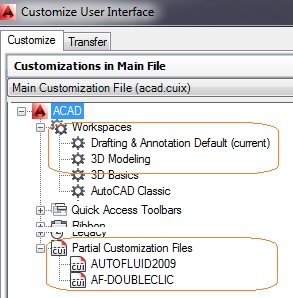 AutoCAD workspace for pour AutoFLUID